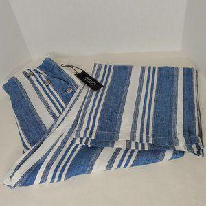 Jones New York Linen Stripe Sailor Pants M NWT